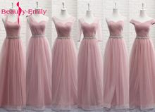 hot deal buy beauty emily tulle lace dark pink bridesmaid dresses 2018 a line wedding party prom dresses vestido de festa party dresses