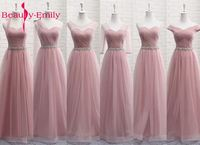 Beauty Emily Tulle Lace Dark Pink Bridesmaid Dresses 2018 A line Wedding Party Prom Dresses Vestido De Festa Party Dresses