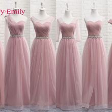 Tulle Lace Dark Pink Bridesmaid Dresses 2019 A Line Wedding