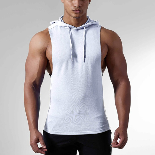 Sleeveless Hooded Tank Top for Men Mens Clothing Hoodies Tops
