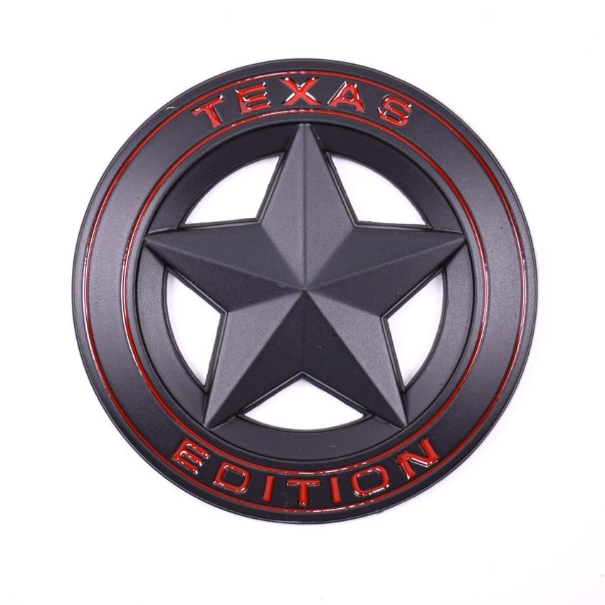 Yaquicka 3D metal negro Texas Edition car Fender side cola Cuerpo emblema etiqueta adhesiva para Jeep Wrangler Liberty grand cherokee