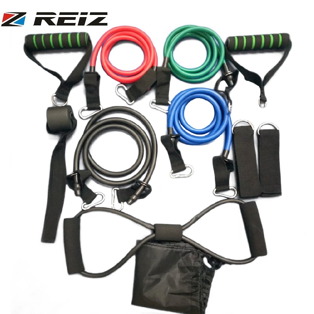 REIZ 11 Pcs/Set Rally Pull Rope Muscle Training Resistance Bands Portable Multifunctional Chest Expander Puller Exercise Tubes
