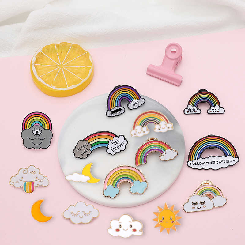 Various Rainbow Pins Cute Clouds Moon Sun Colorful Brooches Badges Backpack Enamel pins For Friends Gifts Jewelry wholesale