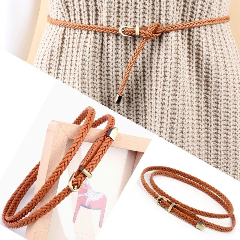 Caliente 1 unid correa de las mujeres 2018 moda del Color del caramelo de la PU alta calidad para el vestido hebilla señoras Correa femenina trenza delgada estrecha delgada