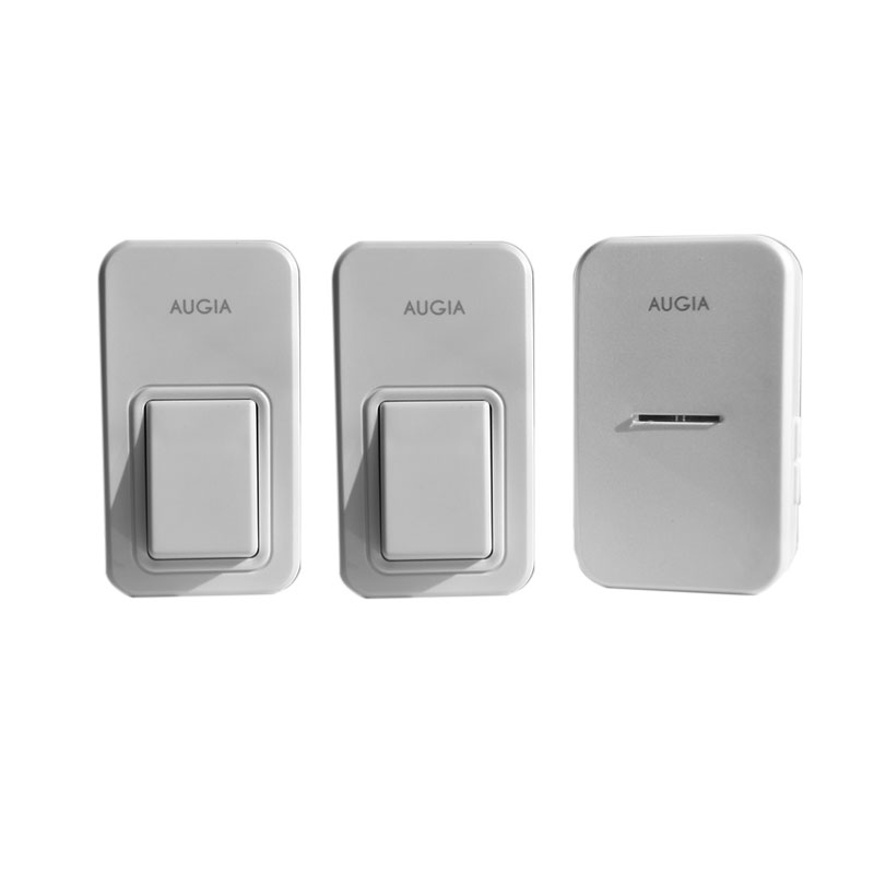 Augia 2 buttons + 1 receiver wireless home bell loud sound 110m long range waterproof button ring call free shipping doorbell wireless table call bell system k 236 o1 g h for restaurant with 1 key call button and display receiver dhl free shipping