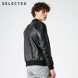 Image 4 - SELECTED Mens Leather Jacket Baseball Collar Pure Color Coat PU Jacket S