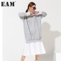 EAM 2018 Spring Fashion New Loose Long Sleeve Stitching Hem Casual Dress Women Tide Vnet