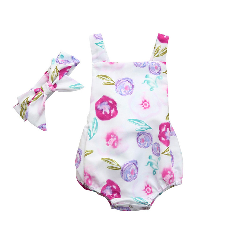 2018 ARLONEET Toddler Infant Baby Girls Outfits Floral Backless Romper Jumpsuit Headband Set Baby Girl Summer Clothes Rompers cute newborn baby girl bodysuit headband outfits floral sunsuit clothes flower infnat toddler girls summer 3pcs set playsuit