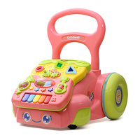 Cartoon Baby Walker Musical Multifunctional Toys Toddler Trolly Sit To Stand Walker For Kid Early Learning
