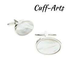 Cufflinks for Men Shell Mother of Pearl Round Shaped Fashion High Quality by Cuffarts C20115