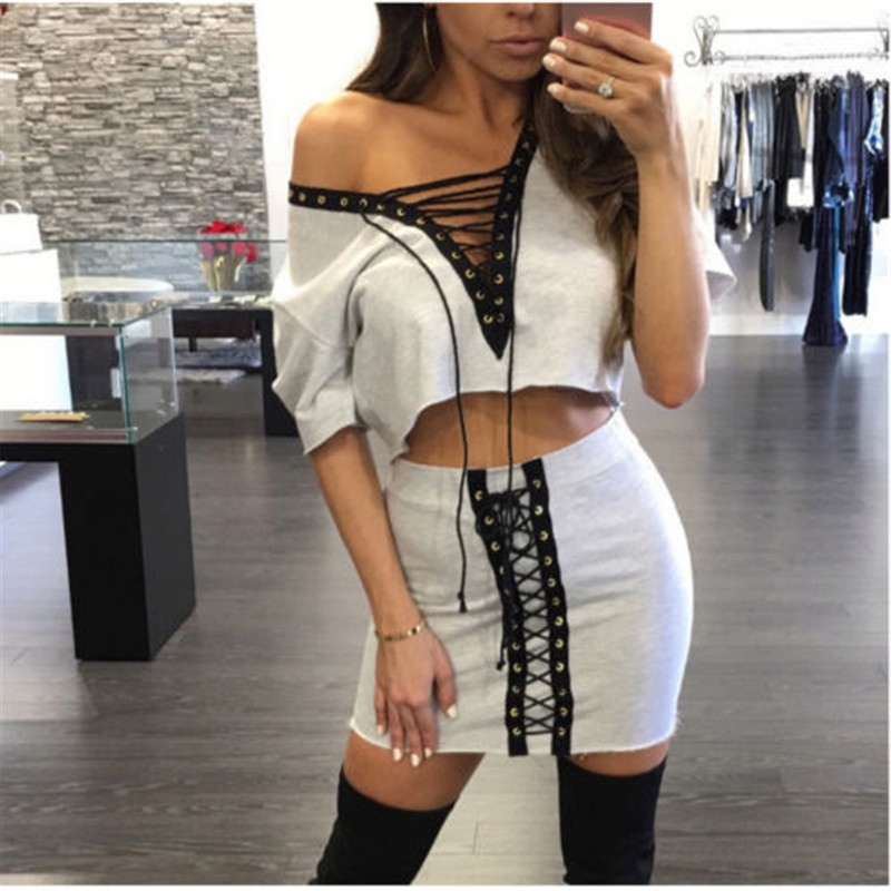 Sexy Fashion Tracksuit Women Set Summer Party Club Bandage Lace up V-neck Crop Top T-shirt Skirt 2pcs Sets Women Clothes