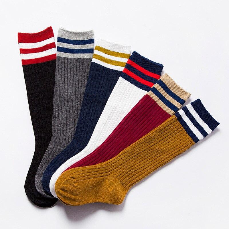 Spring Stripes Sports Football Kids Socks Toddler Baby Cotton Socks Knee High Long Warmers Cute Boy Girl Children Socks 1-9Y