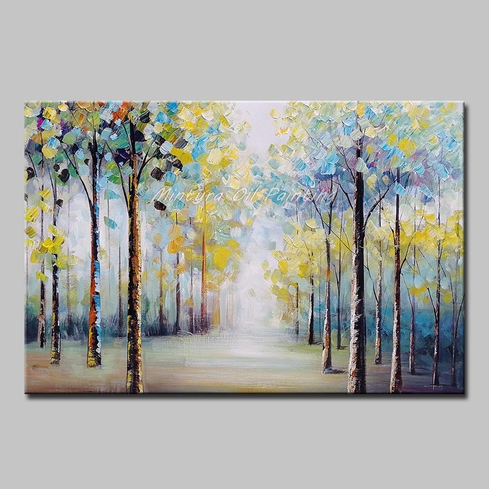 Mintura Art Большой размер Ручная роспись деревья пейзаж картина маслом на холсте настенные художественные картины для гостиной домашний Декор без рамки - Цвет: MT161247