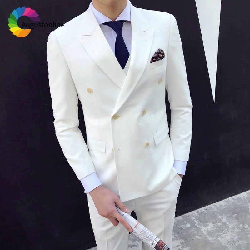 ダブルブレストスーツフォーマルな白人男性スーツ黒ピークラペル新郎タキシード花婿の付添人スーツベストマンブレザー 2 ピース赤カーペット