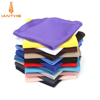 2018 Brand New Casual Knitted Pocket Square Polyester Hanky Solid Color Navy Business Handkerchief For Men Knitting Chest Towel