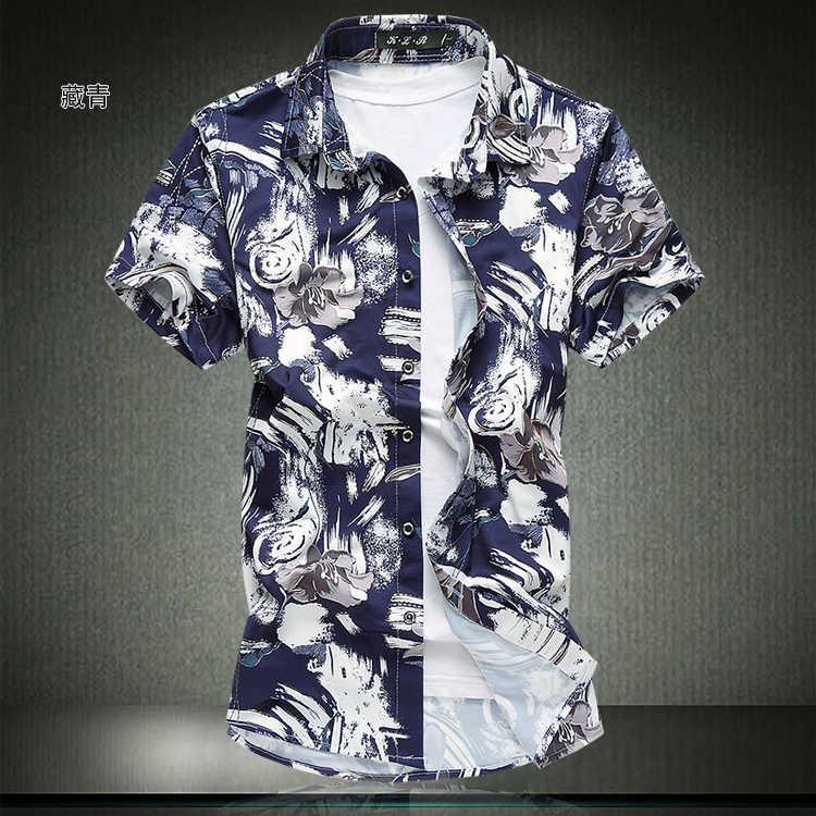 2019 Для мужчин Повседневные принты рубашка короткий рукав плюс Размеры M-4XL 5XL 6XL 7XL модные Летний стиль Мужская гавайская рубашка 5z