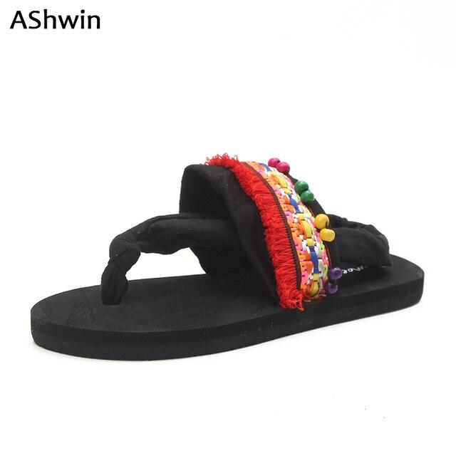 6b4f769eb04e AShwin bohemia sandals flats summer women flip flops sandal handmade beach thong  slippers ethnic pearls pendants national sylish