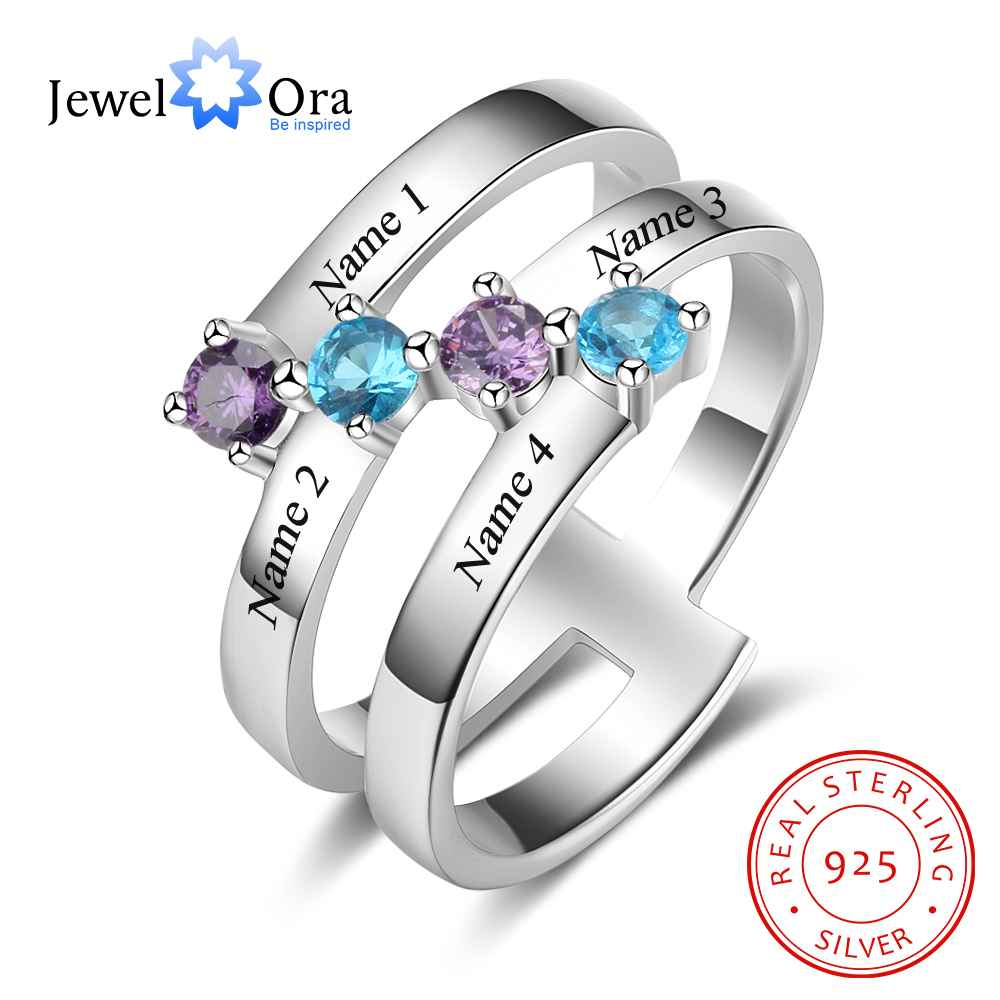 Personalized Gift for Family Engrave 4 Names Childrens Birthstone Promise Rings 925 Sterling Silver Jewelry (JewelOra RI103281)
