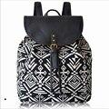 Moda feminina lona mochilas meninas mochilas escolares impressão geométrica nacional bolsas mochila feminina grande saco de viagem saco um Dos