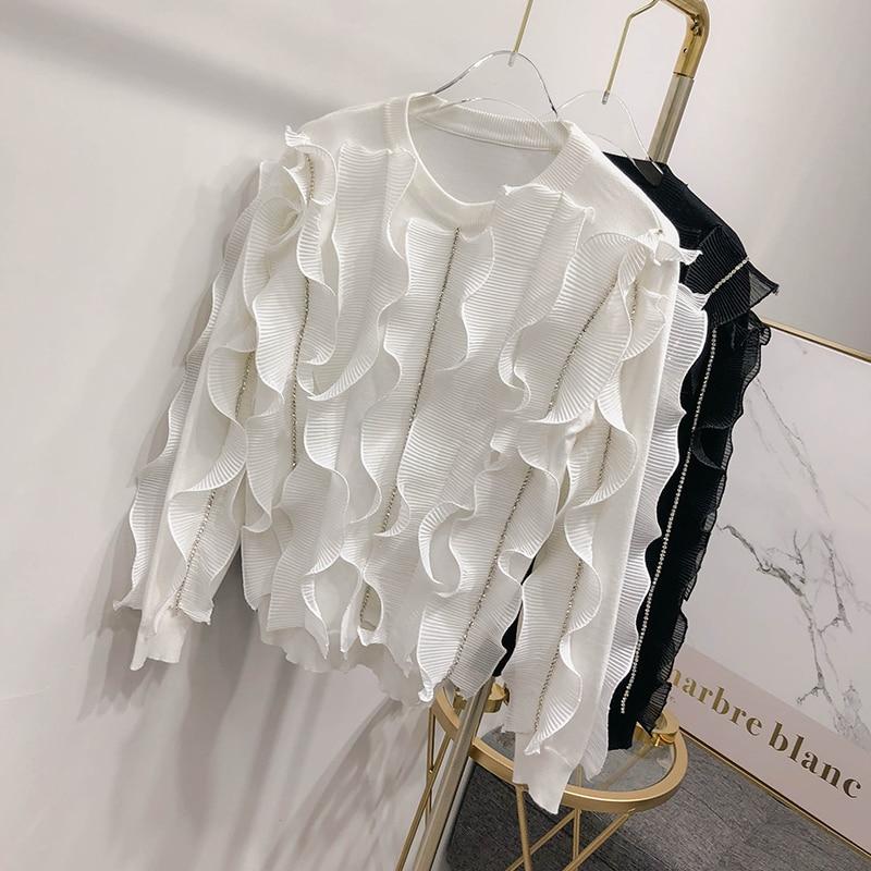 2018 Printemps Pull Whitney Mode Jumper Femme Tricoté Vague Wang Automne Streetwear Femmes Chandail Volants PEPq5xrwn