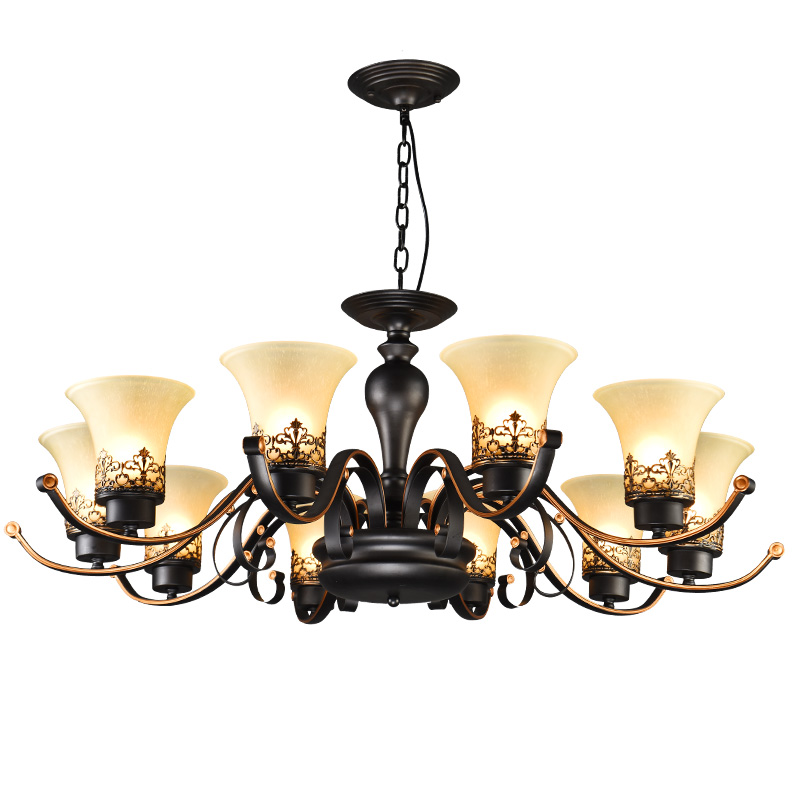 American chandelier simple rustic dining room lamp antique living room lamp bedroom lighting retro atmosphere wrought iron lamps|Chandeliers| |  - title=