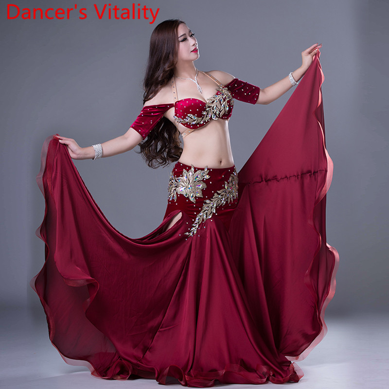 Dancer's Vitality Performance Women 2PCS Bra And Skirt Belly Dance Suit for Lady Dance Stage Costumes Kids Ballroom Dance Set