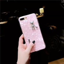 Aoweziic New Korea cute 3D DIY rhinestone toy bear marble phone shell For iphone X XS MAX XRcase 6s 7 8plus swan cover girl bear(China)