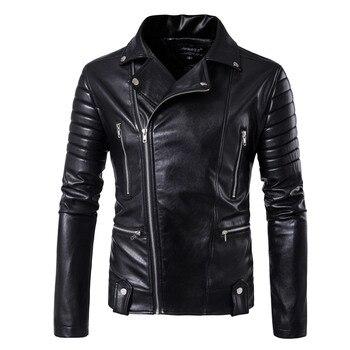 motorcycle men leather jacket top quality male autumn winter leather jacket male fashion Diagonal zipper leather coat men