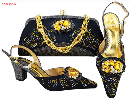 doershow Ladies Italian Shoes and Bag Set Decorated with Rhinestone African Wedding Shoes and Bag Set Party black Shoes!SVP1-15 volcom майка ж трик volcom touch my sol tank sea navy s