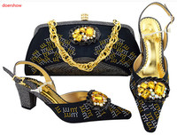 doershow Ladies Italian Shoes and Bag Set Decorated with Rhinestone African Wedding Shoes and Bag Set Party black Shoes!SVP1 15