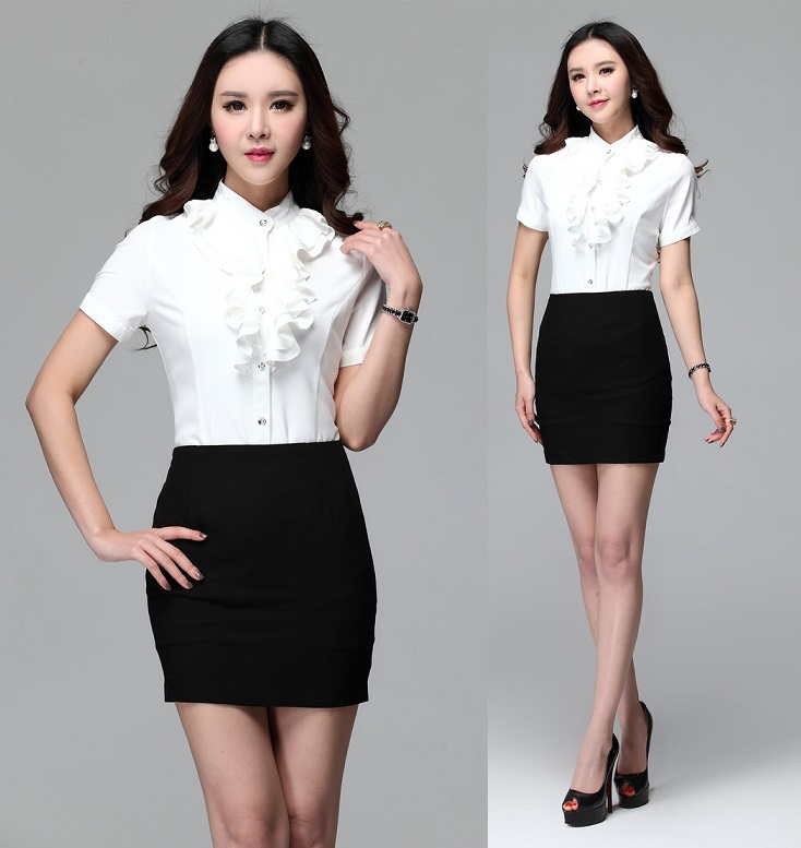 Business Women Work Suits Tops And Skirt Summer Short Sleeve For