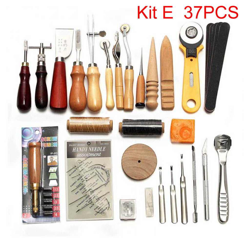 Image 5 - Sanbest Professional Leather Craft Tools Kit Hand Sewing Stitching Punch Carving Work Saddle Groover Set Accessories DIY AT00004-in Leathercraft Tool Sets from Home & Garden