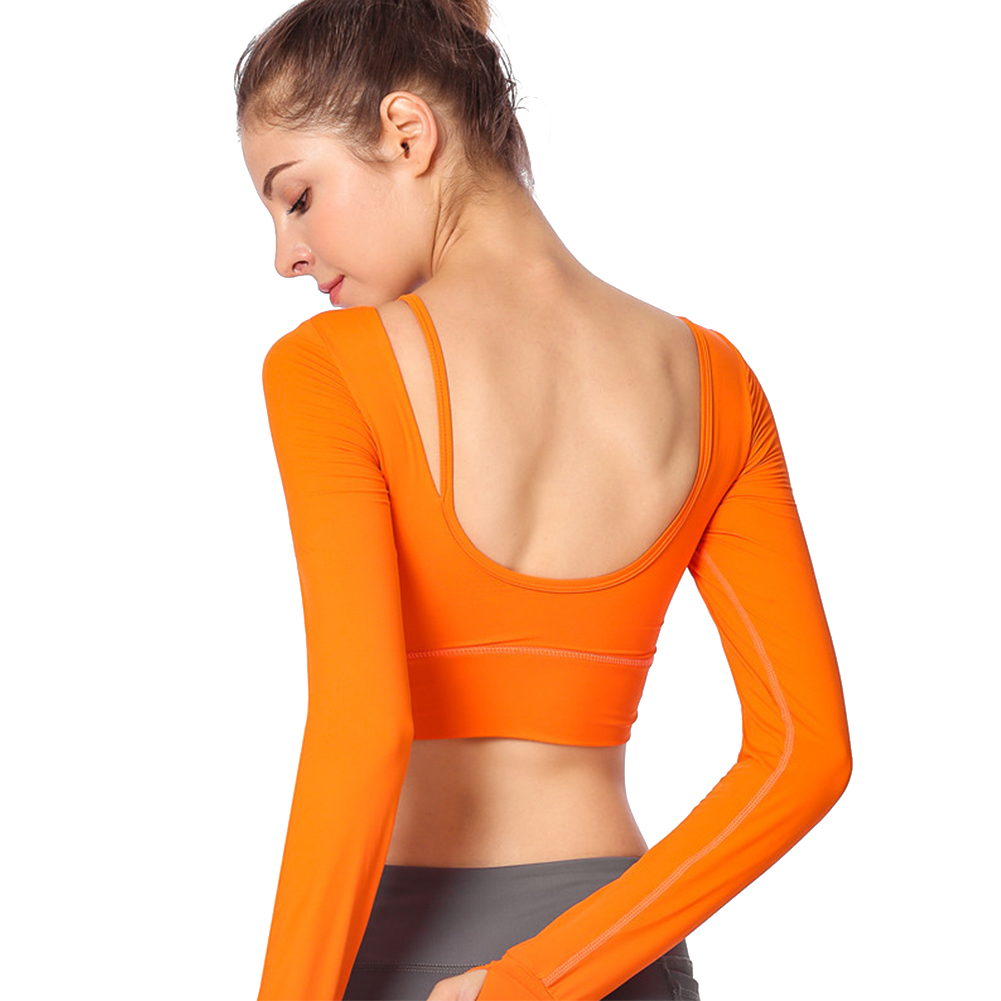 504078fb3906a 2019 Women Yoga Top Shirts Black Backless Workout Tops For Women ...