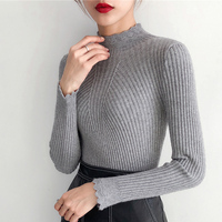 Jersey Mujer Invierno 2018 Women Sweater And Pullovers Half Turtleneck Long Sleeve Hollow Out Solid Sueter