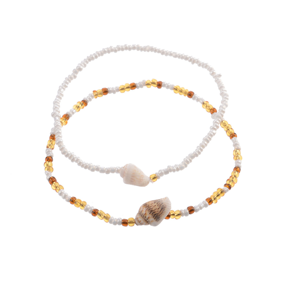 MLING 2 Pcs/Set New Shell Beads Anklet For Women Double Layer Anklet Bracelets On The Leg Bohemian Foot Ocean Jewelry