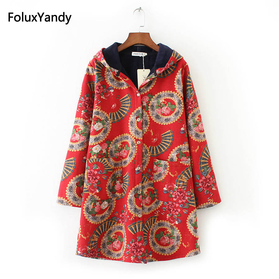 Print   Trench   Coat for Women Plus Size 3 4 XL Casual Pattern Warm Thick Hooded Loose Long   Trench   Outerwear KKFY628