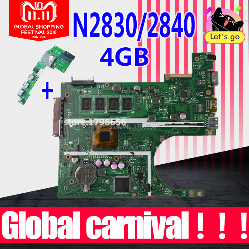 X200MA Motherboard with N2830/N2840 4GB RAM For ASUS K200MA F200MA X200MA laptop Motherboard X200MA Mainboard test OK цена и фото