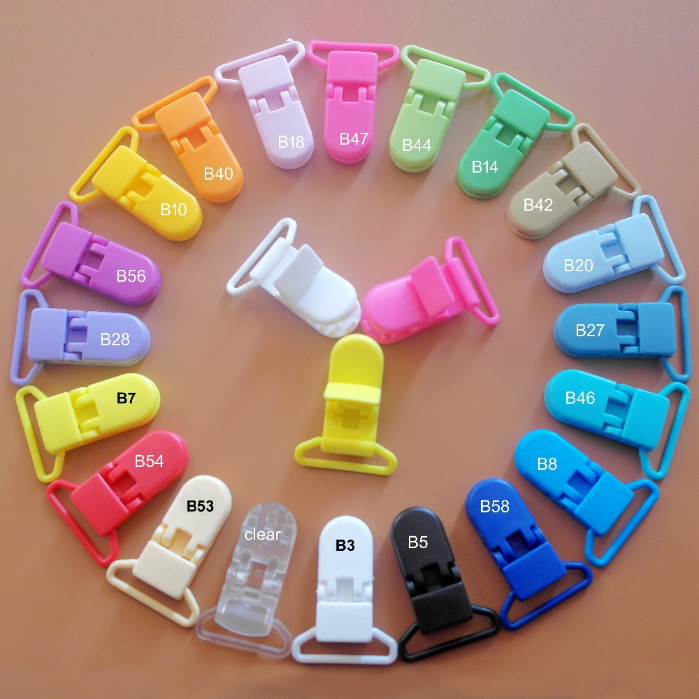 100 Pcs 20 Color Mixed Hot D Shape 25mm Plastic Baby Dummy Pacifier Clip Soother Clip Suspender Clip Pacifier Holder Clips