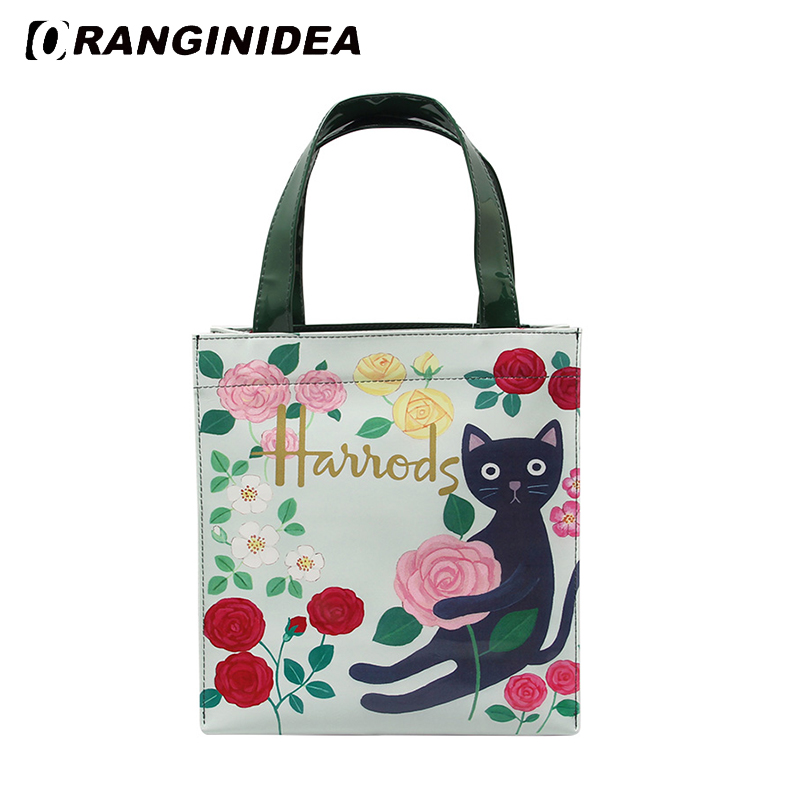 Floral Handbags Women PVC Large Capacity Waterproof Tote Bag Beach Boho Shopping Bag Harajuku Cat Printed Shoulder Bags