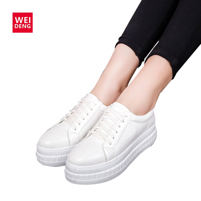 WeiDeng Casual Women Platform PU Leather Shoes Thick Bottom White Lace Up Preppy Chic Style Fashion Flats Shoe 2 Colors women brogue shoes lace up oxfords for women black white platform shoes woman beading thick bottom pu leather flats plus size 43