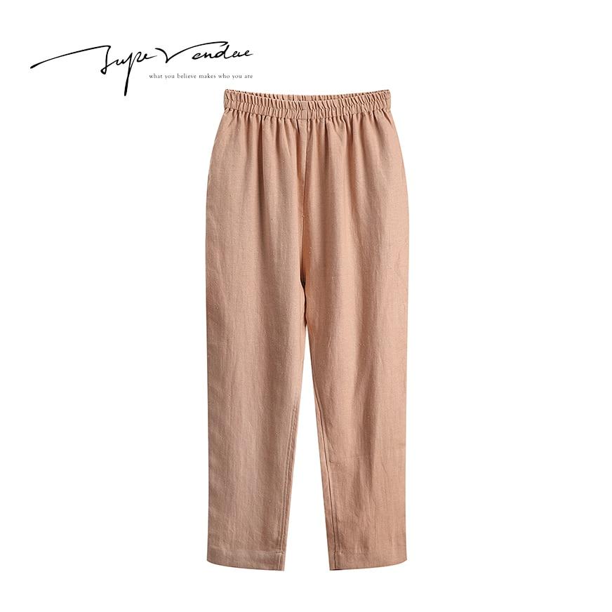 Jupe Vendue Store JUPE VENDUE Womens Fashion High Waist  Flax Linen Ninth Casual Pants