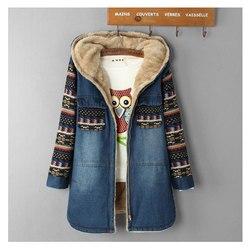 Vrouwen Denim Winterjas 2019 Casual Losse Print Patchwork Plus Fluwelen Dikke Bovenkleding Tops Warme Lange Denim Gewatteerde Jas Vrouwelijke