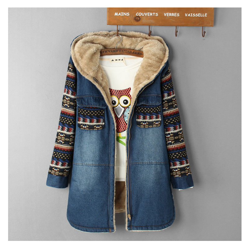 Women Denim Winter Coat 2019 Casual Loose Print Patchwork Plus Velvet Thick Outerwear Tops Warm Long Denim Padded Jacket Female