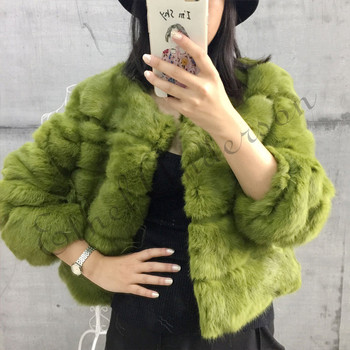 Ethel Anderson Thick Warm Classical Customize Made Plus Size Real Whole Skin Real Genuine Rabbit Fur Coat Female Collar Jacket image