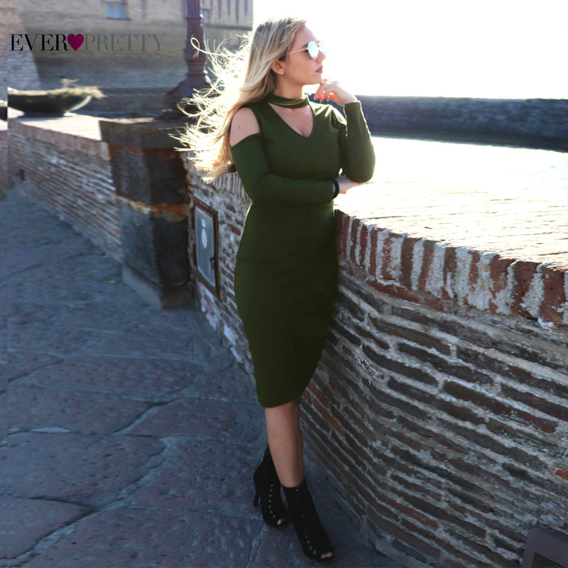 Sexy V-Neck Short   Cocktail     Dresses   Ever Pretty AS05925 Green Long Sleeve Slim Party Gown Cut-out Shoulder Knitting Bodycon   Dress