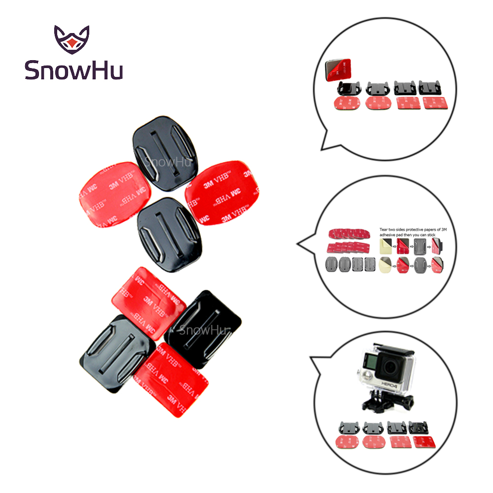 Gopro Base 2pcs Flat Adhesive Mount + 2 Curved For Go Pro Hero 4 3 Black SJ4000 Accessories Set GP10