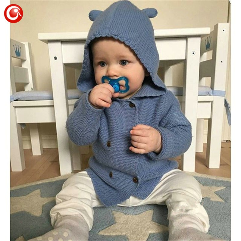 2016 AutumnWinter Kids Girls Hooded Cardigan Double Breasted Cotton Sweater For Children Boy Baby Girl Soft Knit Jumper Clothes (3)