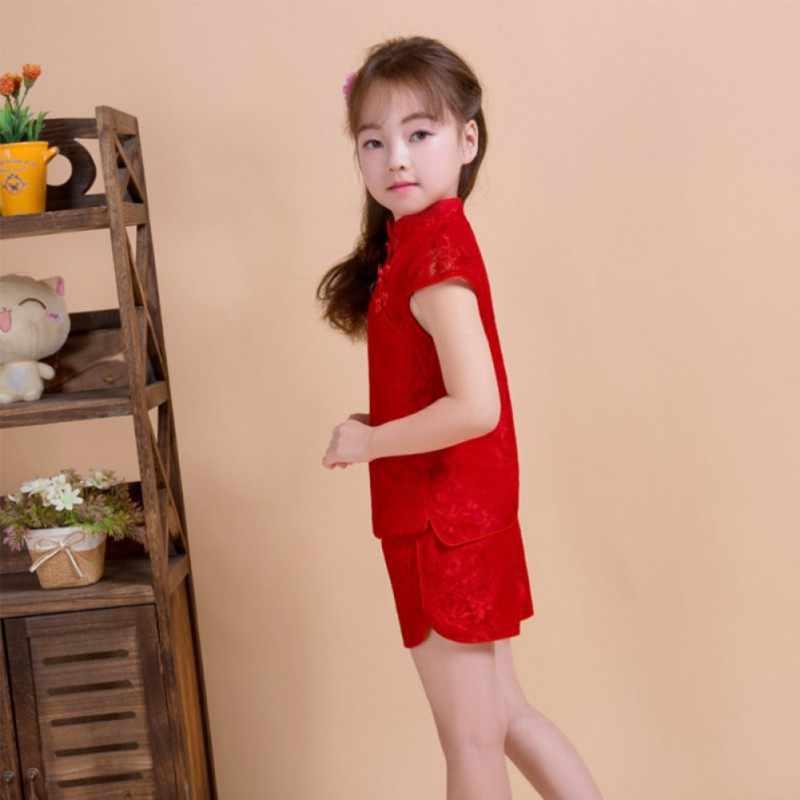 2019 夏の子供服はトップス + パンツ唐スーツ服子供服ベビー女の子ノースリーブセット
