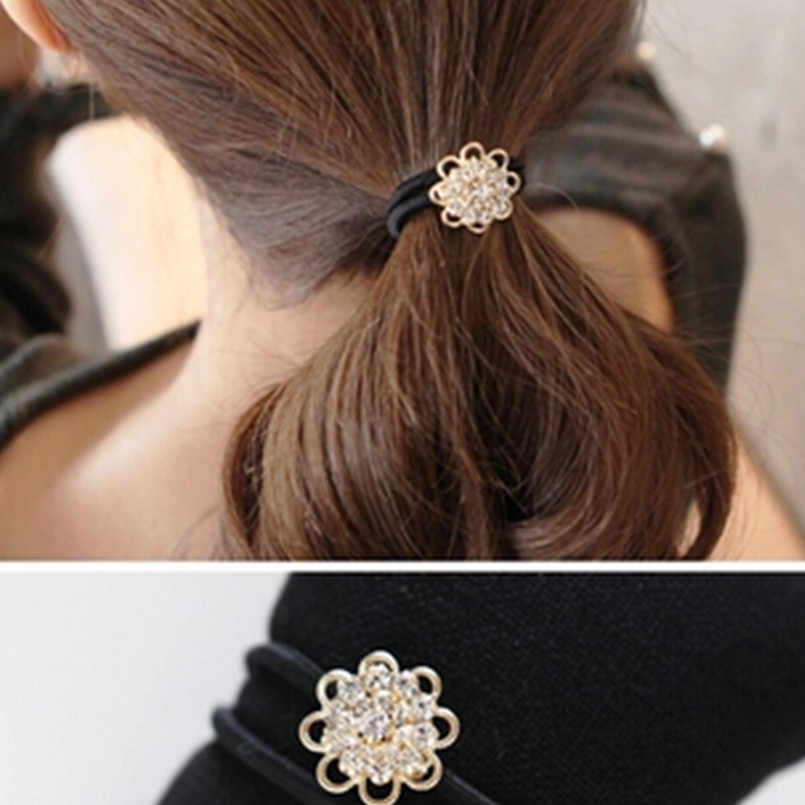 New Korean hair accessories fashion imitation lady full of  crystal flower hair ring high elastic rubber band wholesale