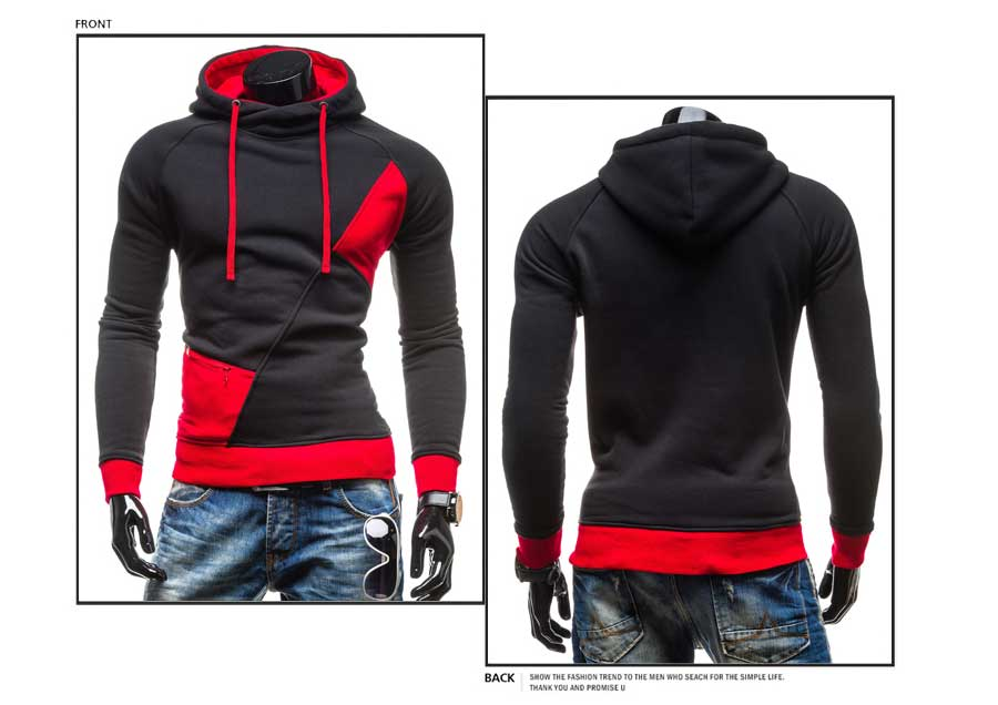spring and autumn new hoodie men's matching color patchwork jumper Korean version of men's coat 24